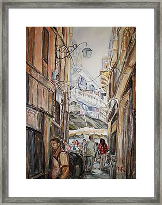 Framed Print featuring the painting Italy Travelers by Becky Kim