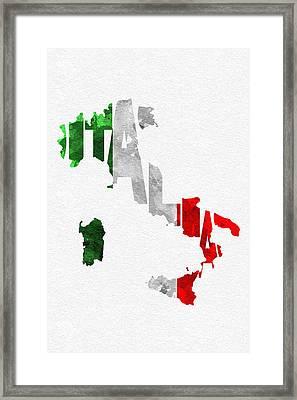 Italy Typographic Map Flag Framed Print by Ayse Deniz