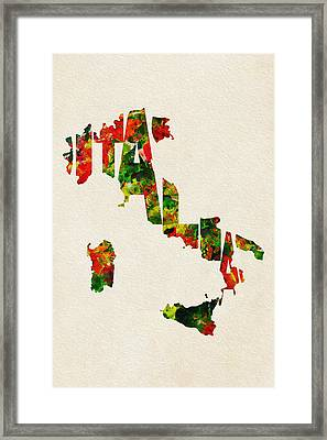 Italy Typographic Watercolor Map Framed Print by Ayse Deniz