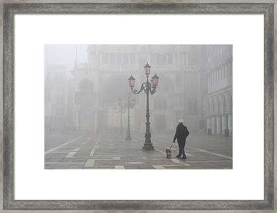 Italy, Venice A Man Walks His Dog Framed Print