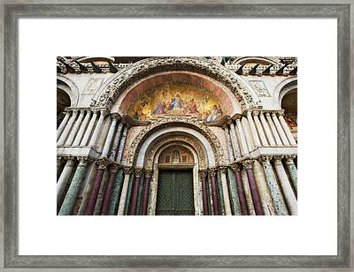 Italy, Venice Detail Of The Carvings Framed Print