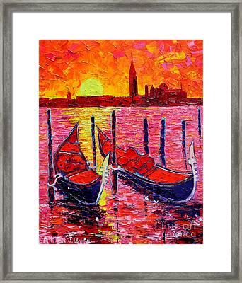 Italy - Venice Gondolas - Abstract Fiery Sunrise  Framed Print