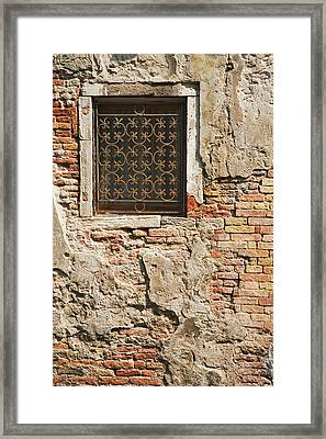 Italy, Venice Ornate Metalwork Window Framed Print by Jaynes Gallery