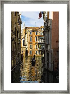 Italy, Venice, Rowing Gondola Framed Print