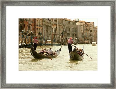 Italy, Venice Tourist Ride In Gondolas Framed Print