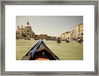 Italy, Venice Tourists Ride In Gondolas Framed Print
