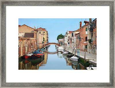 Italy, Venice View Of Boats And Homes Framed Print
