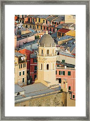 Italy, Vernazza Elevated View Framed Print
