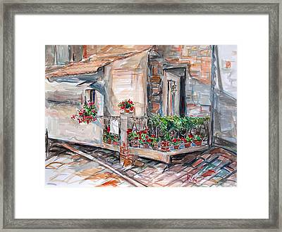 Framed Print featuring the painting Italy Visit Over The Window by Becky Kim