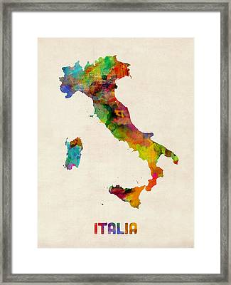 Italy Watercolor Map Italia Framed Print by Michael Tompsett