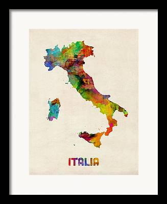 Map Of Italy Framed Prints