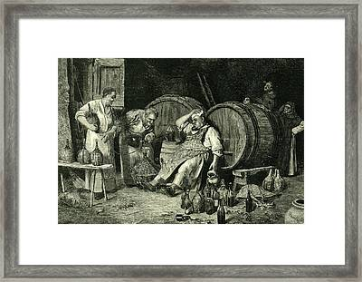 Italy Wine Tasting 1881 Framed Print by Italian School