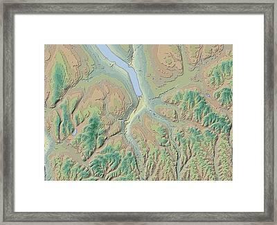 Ithaca Contour Map Framed Print