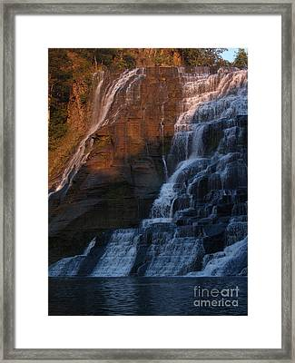Ithaca Falls In Autumn Framed Print by Anna Lisa Yoder