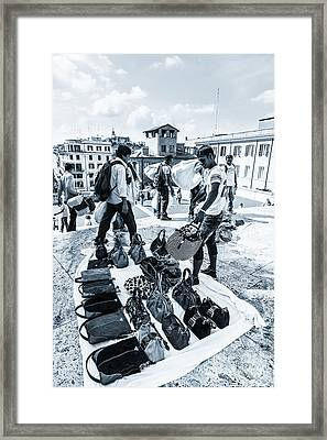 Itinerant Street Sellers Selling Fake Designer Goods Laid Out On Framed Print