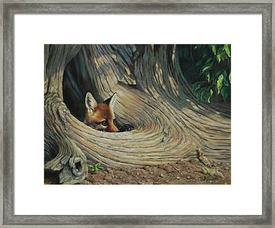 Fox - It's A Big World Out There Framed Print by Crista Forest