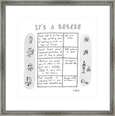 It's A Breeze Framed Print by Roz Chast