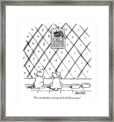 It's A Cat Calendar Framed Print by Jack Ziegler