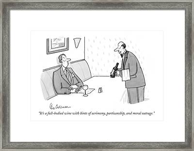 It's A Full-bodied Wine With Hints Of Acrimony Framed Print by Leo Cullum