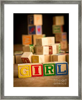 Its A Girl - Alphabet Blocks Framed Print by Edward Fielding