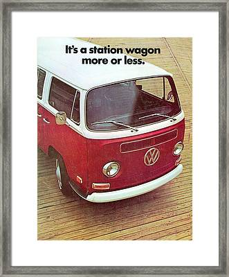 It's A Station Wagon More Or Less - Vw Camper Ad Framed Print by Georgia Fowler