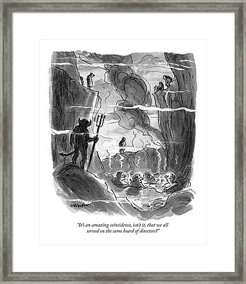 It's An Amazing Coincidence Framed Print by James Stevenson