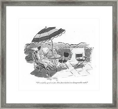 It's Awfully Good So Far. The ?rst Victim Framed Print by Helen E. Hokinson