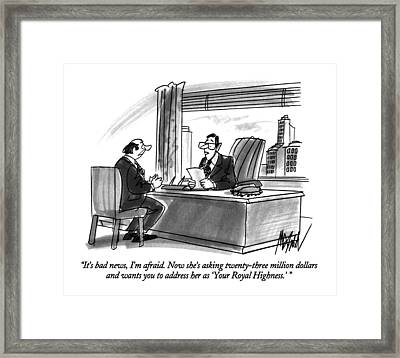 It's Bad News Framed Print by Kenneth Mahood