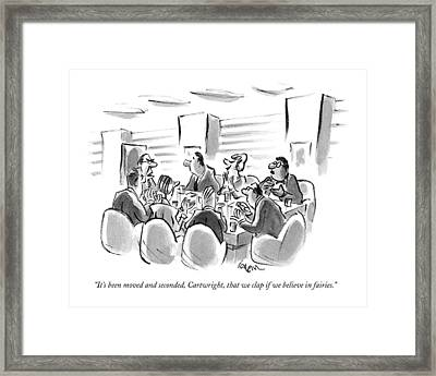 It's Been Moved And Seconded Framed Print by Lee Loren