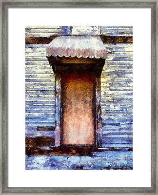 It's Been So Long - Abandoned Farm House Door Framed Print by Janine Riley