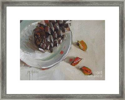 Pine Cone Still Life On A Plate Framed Print