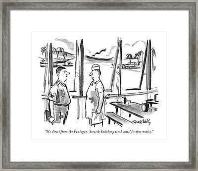 It's Direct From The Pentagon. Scratch Salisbury Framed Print by Donald Reilly