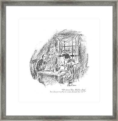 It's From Mrs. Maltby About Her Dinner - We're Framed Print