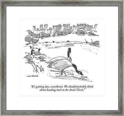 It's Getting Late Framed Print by Michael Crawford
