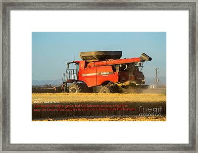 It's Harvest Time Framed Print by Beverly Guilliams