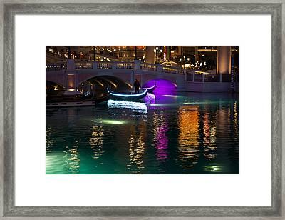It's Not Venice - Brilliant Lights Glamorous Gondolas And The Magic Of Las Vegas At Night Framed Print