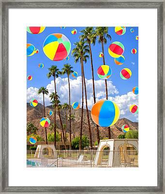 Its Raining Beach Balls Palm Springs Framed Print by William Dey