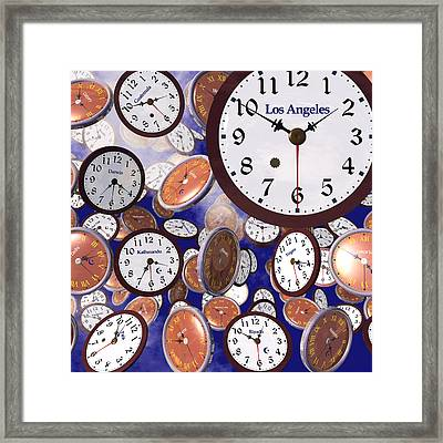 It's Raining Clocks - Los Angeles Framed Print by Nicola Nobile