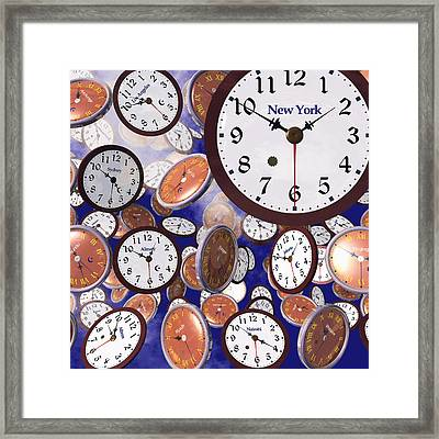 It's Raining Clocks - New York Framed Print by Nicola Nobile