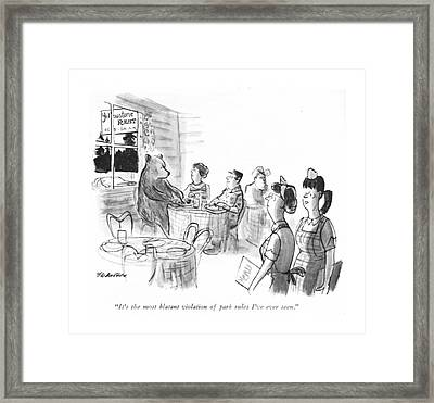 It's The Most Blatant Violation Of Park Rules Framed Print by James Stevenson