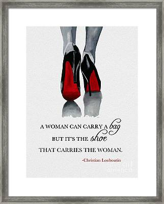 It's The Shoe That Carries The Woman Framed Print by Rebecca Jenkins