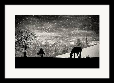 Western Snowfall Framed Prints