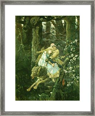 Ivan Tsarevich Riding The Grey Wolf, 1889 Oil On Board Framed Print by Victor Mikhailovich Vasnetsov