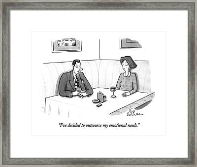 I've Decided To Outsource My Emotional Needs Framed Print by Leo Cullum