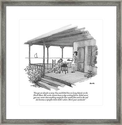 I've Got An Idea For A Story: Gus And Ethel Live Framed Print by George Booth
