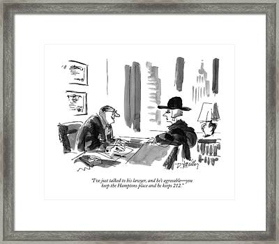 I've Just Talked To His Lawyer Framed Print by Donald Reilly