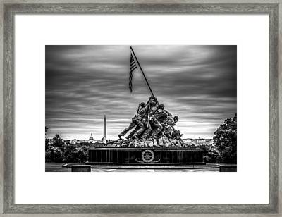 Iwo Jima Monument Black And White Framed Print