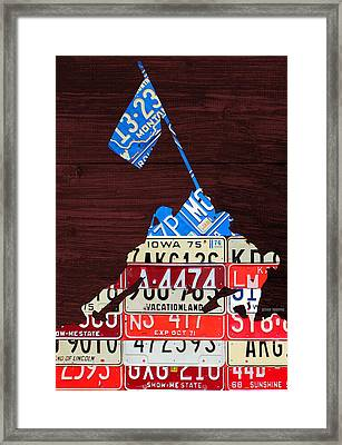 Iwo Jima United States Marines Raising The American Flag Silhouette License Plate Art On Wood Board Framed Print by Design Turnpike