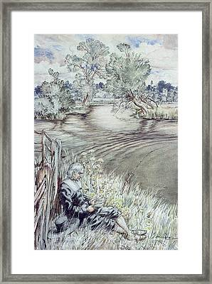 Izaak Walton Reclining Against A Fence Framed Print by Arthur Rackham