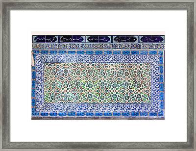 Iznik Ceramics With Floral Design Framed Print